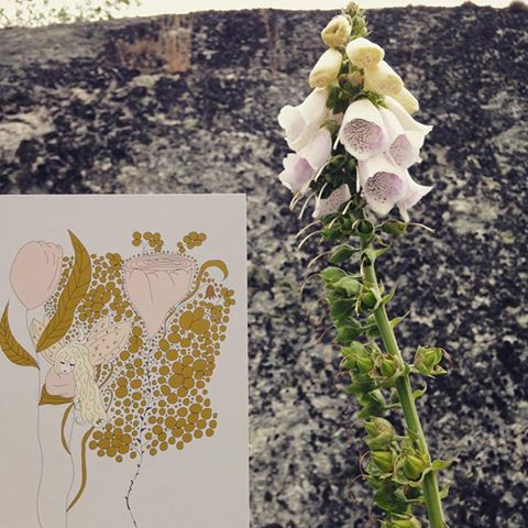 Kortet Glimrande Älva i naturen bland rosa blommor
