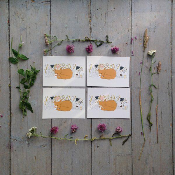 Kort med illustration av en räv och sommarblomster