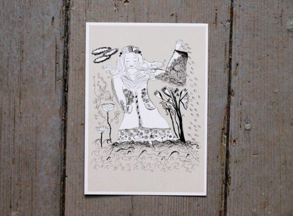 Blomflickan sår om våren. Beige, vitt och svart illustration.