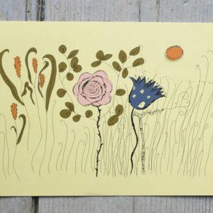 Sagomotiv: rosa och blå blomma, gulgrön botten