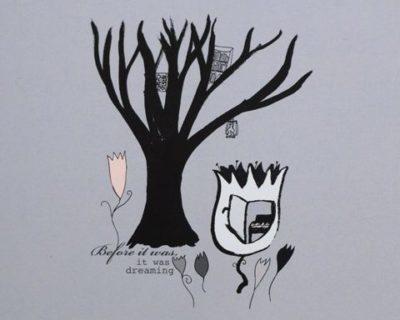 Dovt blå-grönt-grått kort med ett svart träd och ett blomhus med piano