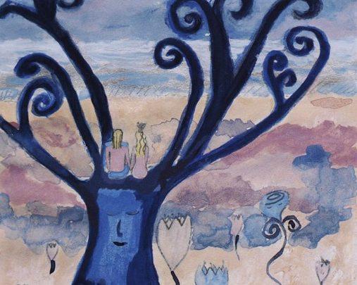 Akvarell med sagomotiv av en prins och en prinsessa på ett träd