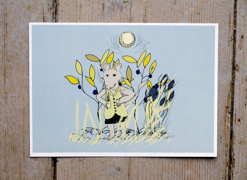 Grattiskort med illustration av Rasmus Råtta