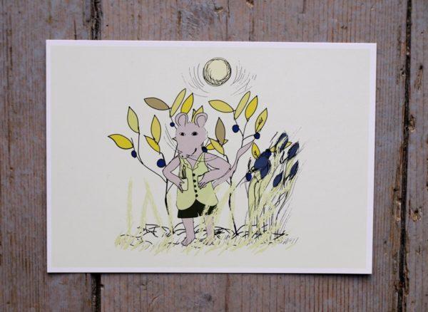 Grattiskort med illustration från barnboken Rasmus Råtta