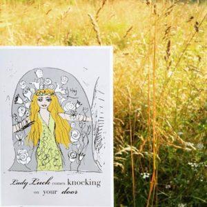 """Illustration av Fru Fortuna och citatet """"Lady Luck comes knocking on your door"""""""