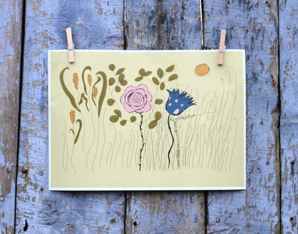 Rosa och Blå Blomma med fönster och dörrar på gul-grön botten