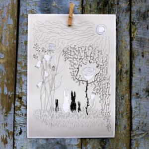 A3 affisch med kaniner i beige, vitt och svart