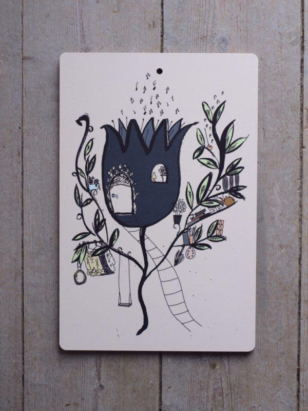 Sagoillustration av ett blått blomhus