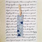 Blått bokmärke med mörkblå rosor och ljusblå sommarblommor