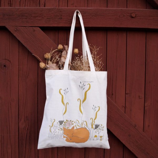 Organic tote bag Fox, hand drawn illustration